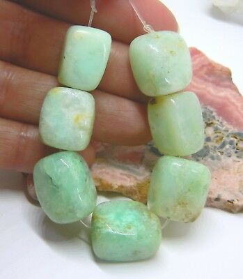 7 RARE NATURAL UNTREATED AUSTRALIAN APPLE GREEN CHRYSOPRASE NUGGET BEADS 15-17mm