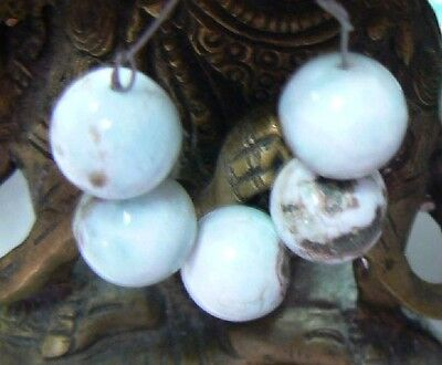 5 RARE 12.5mm ROUND NATURAL UNTREATED CARIBBEAN BLUE LARIMAR BEADS 72.25cts