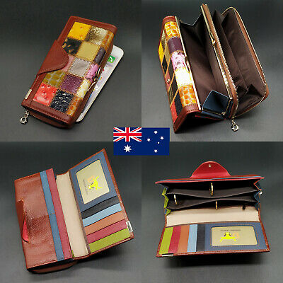 Genuine Leather Clasp Ladies Womens Large Capacity Wallet For iPhone 6 7 8 Plus