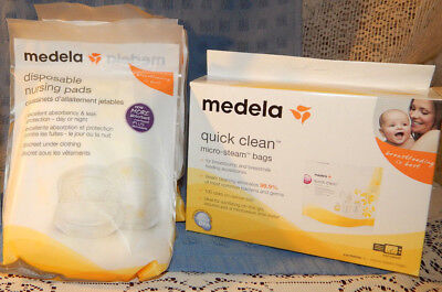 Medela Quick Clean Micro-Steam Bags, 5 Count 87024 and 32 Medela Nursing pads