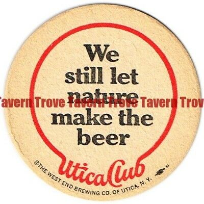 """1970s New York UTICA CLUB BEER """"Nature Makes The Beer"""" 3½ inch Coaster"""
