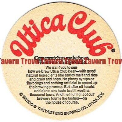 """1970s New York UTICA CLUB BEER """"Come Watch Us"""" 3½ inch Coaster"""