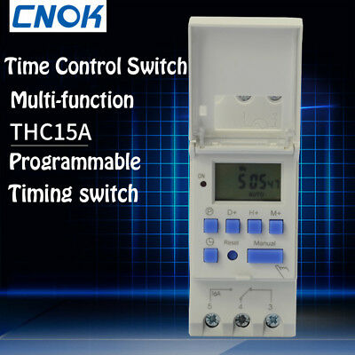 AC 220V 16A THC15A Timer Time Relay Switch Digital LCD DIN Programmable Rail
