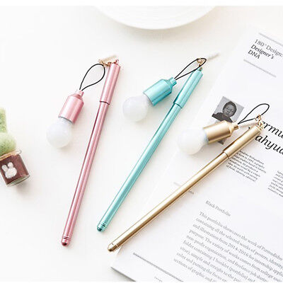1Pc 0.5mm Light Bulb Shape Gel Rollerball Pen Stationery Office School Supply