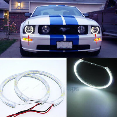 2Pcs Headlight LED SMD Angel Eye Halo Rings For Ford Mustang Non Projector 10-13