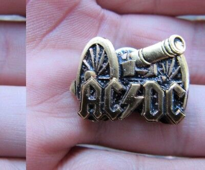 """Vtg AC/DC Cannon 1"""" PIN Album ART For Those About To Rock ACDC Brass RARE VG++"""