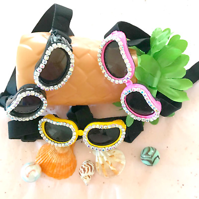Bling Crystal Rhinestone Dog Pet Sunglasses Goggles Pink, Black or Yellow ~ USA