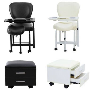 Mobile Manicure /Pedicure Station Beauty Nail Art Care Chair Table 2Drawer Stool