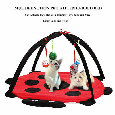 Pet Cat Toys Foldable Play Tent Exercise Fleece Mat Soft Bed With Hanging Toy