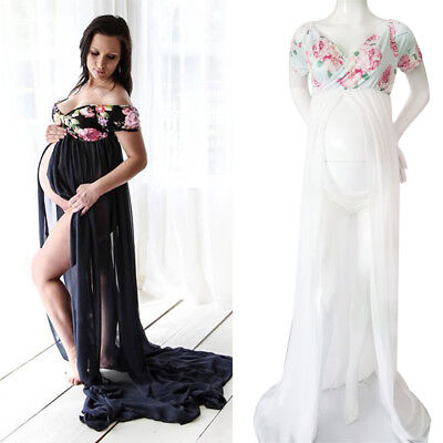 41ed5b2ee Pregnant Women Floral Chiffon Maxi Dress Maternity Gown Photography Props  Dress