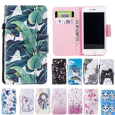 Pattern Leather Wallet Flip Protective Case Cover For iPhone 5 6s 7 8 Plus X SE