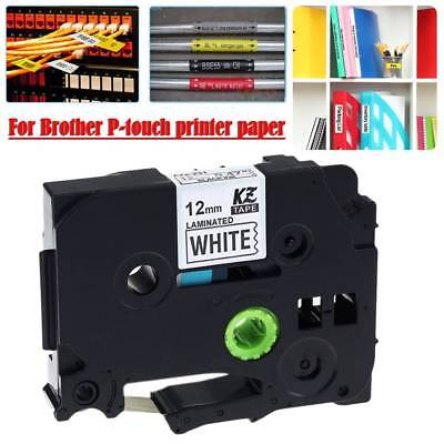 1 Pack Black on White 12mm 8m Label Tape Compatible For Brother P-touch Printer