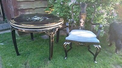 Table lacquered chinoiserie furniture/Japanese antique style with chair -OFFERS
