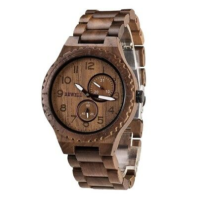 Natural Wooden Watch Quartz Analog Movement Wristwatch for Men Women Gift F