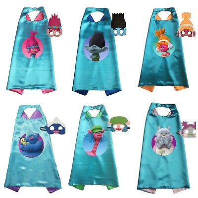 Trolls Cape and Mask Set Poppy and Branch Kids Birthday Party Costume Dress Up