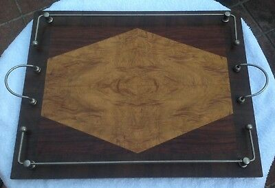 Vintage Art Deco Serving Tray With A Timber Inlay Centre Piece