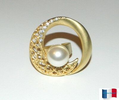 Bague Demi-Lune Perle Blanche Et Strass Taille Reglable Neuf