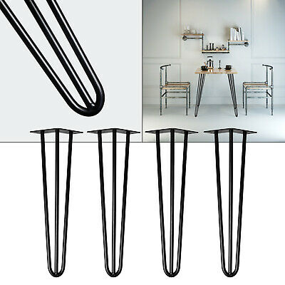 Pieds de table Hairpin Legs Table 4x Pieds en épingle à cheveux Noir 86cm Table