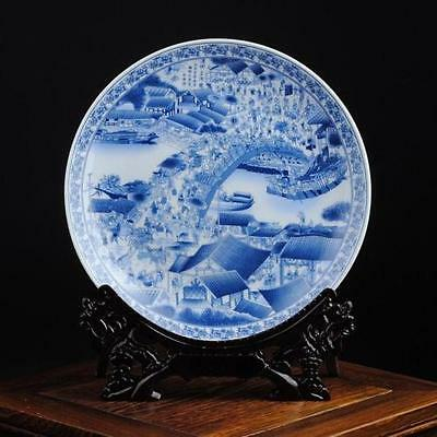 Exquisite China Hand Painted Qingming Riversidel Blue & White Porcelain plate