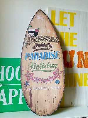 Brown Surfboard Wooden Sign Summer Tropical 57cm Wall Hanging Distressed Beach