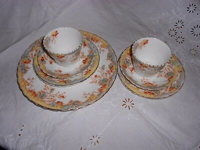 Queens China G W & Sons Pair cups, saucers, side plates and cake plate