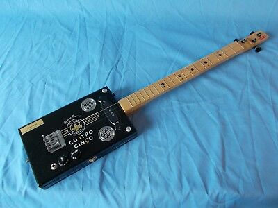 "cigarbox electric guitar ""Cuatro Cinco"" 19 frets"