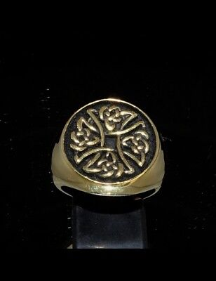Bronze Costume Silver Men's Ring Celtic Iron Birgit's Cross Knot Spiral Antiqued