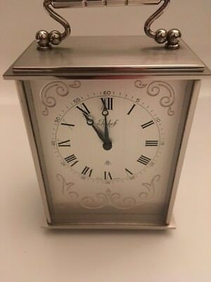 Vintage Swiss Imhof Silver Brushed Chrome Carriage Clock With Engraved  Design