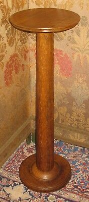 "ANTIQUE OAK PEDESTAL PLANT STAND LATE 1800's w/WOOD TURNED SCREWS 35""H X12""DIA"