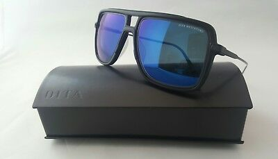 b0e3a9a444a Dita Westbound 19015-B-Blk-57 Matte Black Iron Blue Flash Mirrored Lens