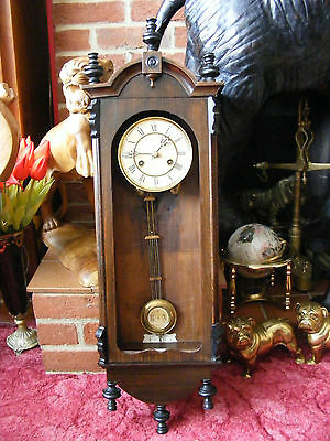 Antique Vintage Junghans German Wall Clock in Wooden Case for Restoration