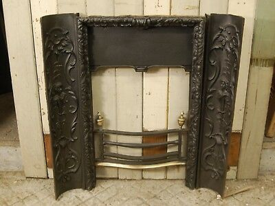 DECORATIVE GEORGIAN CAST IRON FIRE FRONT AND DECORATIVE CHEEKS FRENCH ? ref 1076