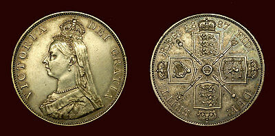 Great Britain - Double Florin 1887 (arab 1) aUnc, some luster, q. Victoria