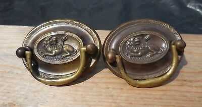 (2) Antique Stamped Brass Hepplewhite Cabinet Drawer Pull LION