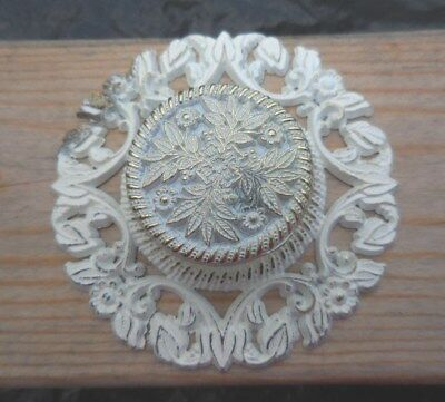 Vtg Allison Japan Shabby Chic White & Gold Floral Backplate Cabinet Drawer Pull