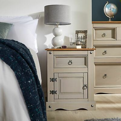 Traditional Distressed Waxed Pine 1 Drawer 1 Door Bedroom Bedside Corona - Grey