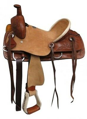"""12"""" Double T Youth Rough Out Hard Seat Roper Style Saddle Floral Tooling!"""