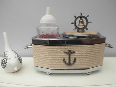 Vintage RETRO Nautical MUSICAL Ice BUCKET & Decanter SET Rope & BELL Japan QZZQ