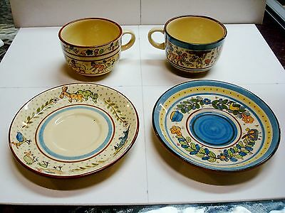 Hand Painted Cups/Saucers - Zimbabwe - African - Signed x 4 - 2000 - Willsgrove