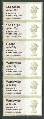 """World Stamp Expo """"australia 2013"""" On Great Britain, Strip Of 6 Different, Mnh"""