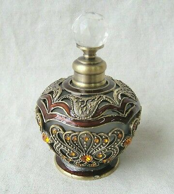 Perfume Bottle Amber With Gold Stones