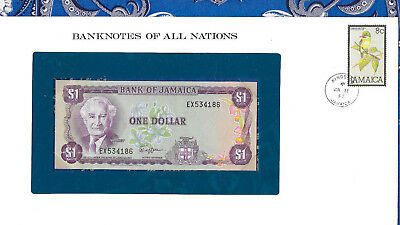 Banknotes of all Nations Jamaica 1 Dollar 1982 UNC P64a sign 6 prefix EX