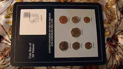 Coin Sets of All Nations Great Britain w/card UNC 1£, 1, 2, 5, 10, 20, 50p 1986