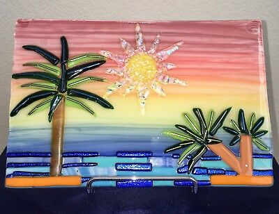 "Dichroic Glass Art For Sale, 9 in x 6 in. ""Color the Sunset on My Beach"""