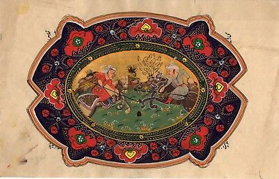 Indian Persian Miniature Painting Handmade Illustrated Islamic Muslim Folk Art