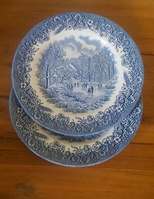 2 Churchill England Blue and White Salad Luncheon Plates Winter Scene