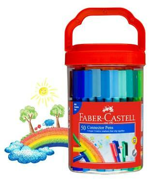Faber Castell Connector Pen Bucket set of 50 felt tip markers non toxic - NEW
