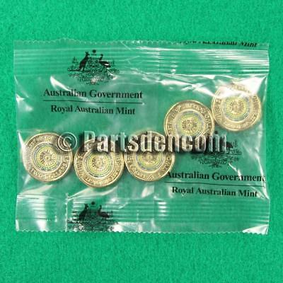 5x 2017 $2 Two Dollar Green Coloured Lest We Forget Anzac day coin coins RAM bag