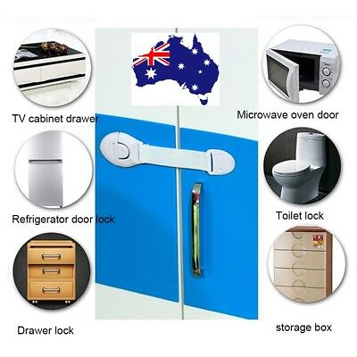 Baby Children Safe Cabinet Drawer Cupboard Door Safety Lock Adhesive Easy Latch