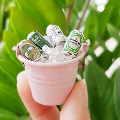 4x Ice Beer Cans in Tub Dollhouse Miniature FAIRY GARDEN Accessories Barbie Deco